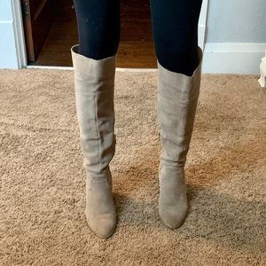 Tall Leather Taupe Boots